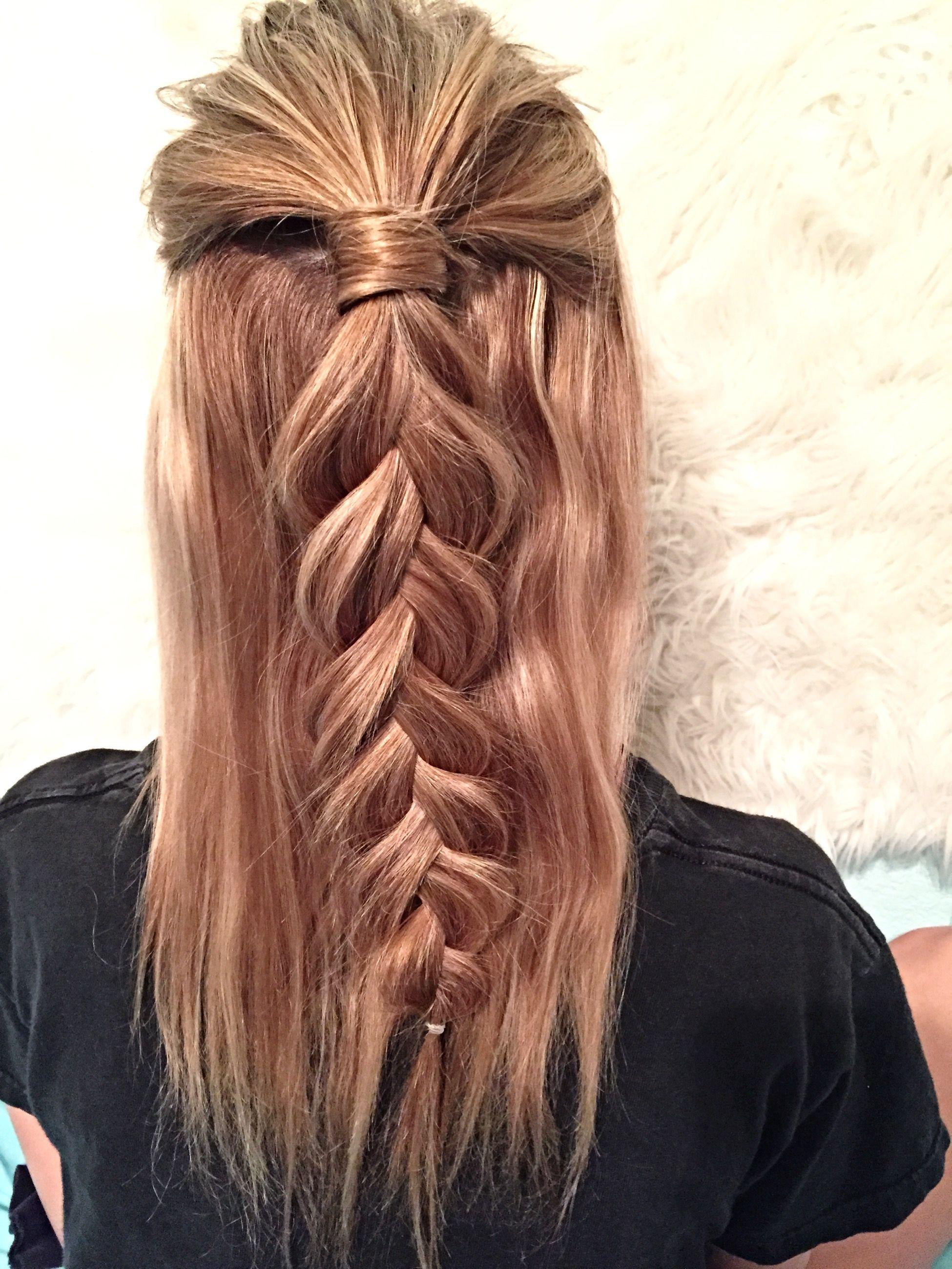 Half up hairstyle: Dutch braid Instagram: @hailey_hagler ...