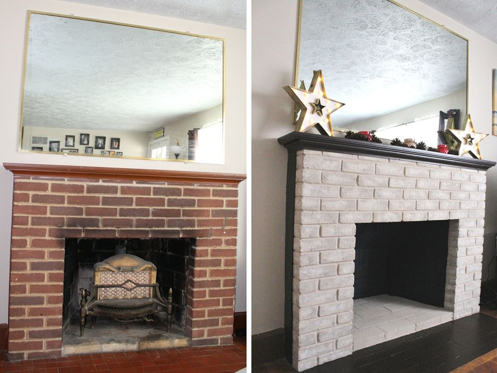 fireplace makeover painting the firebox and mantel bricks