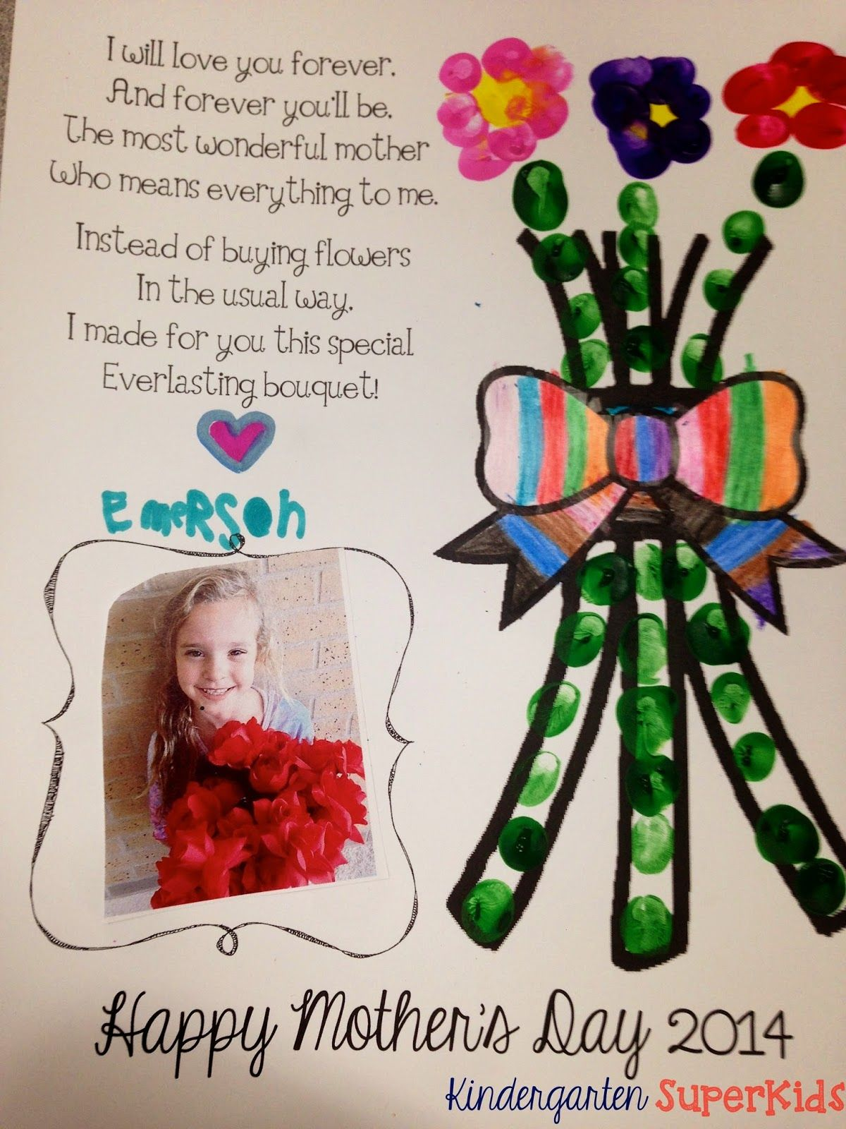 Pre k arts and crafts - Mother S Day Poem With Fingerprinted Flower Free Art Activity Craft Perfect For