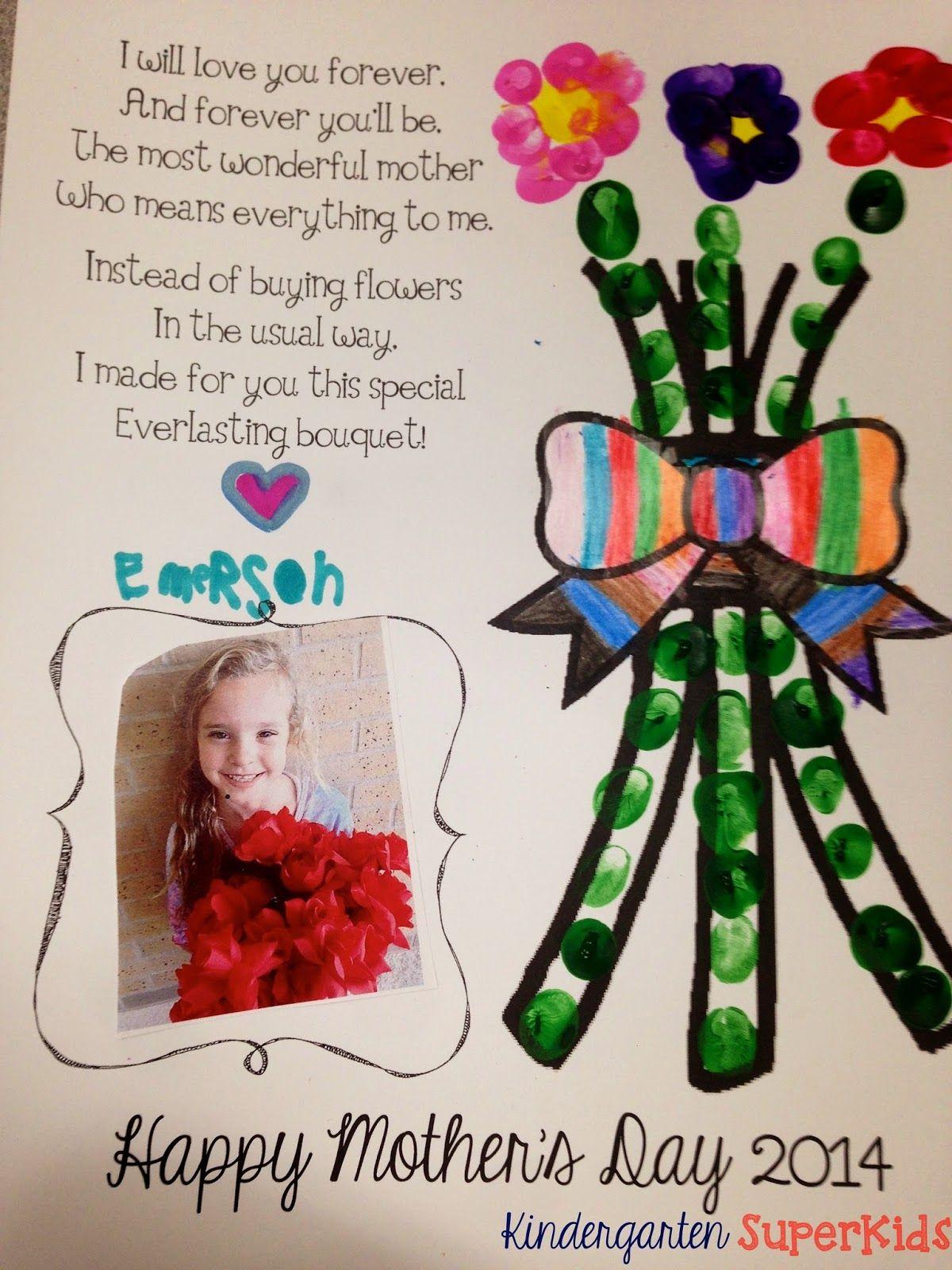 Mother S Day Poem With Fingerprinted Flower