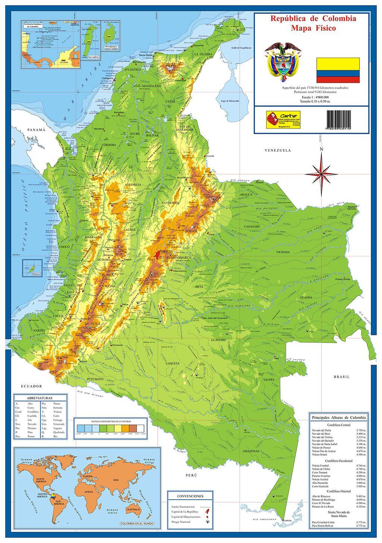 Mapa Físico De Colombia Mapa De Colombia Mapa Fisico Mapas