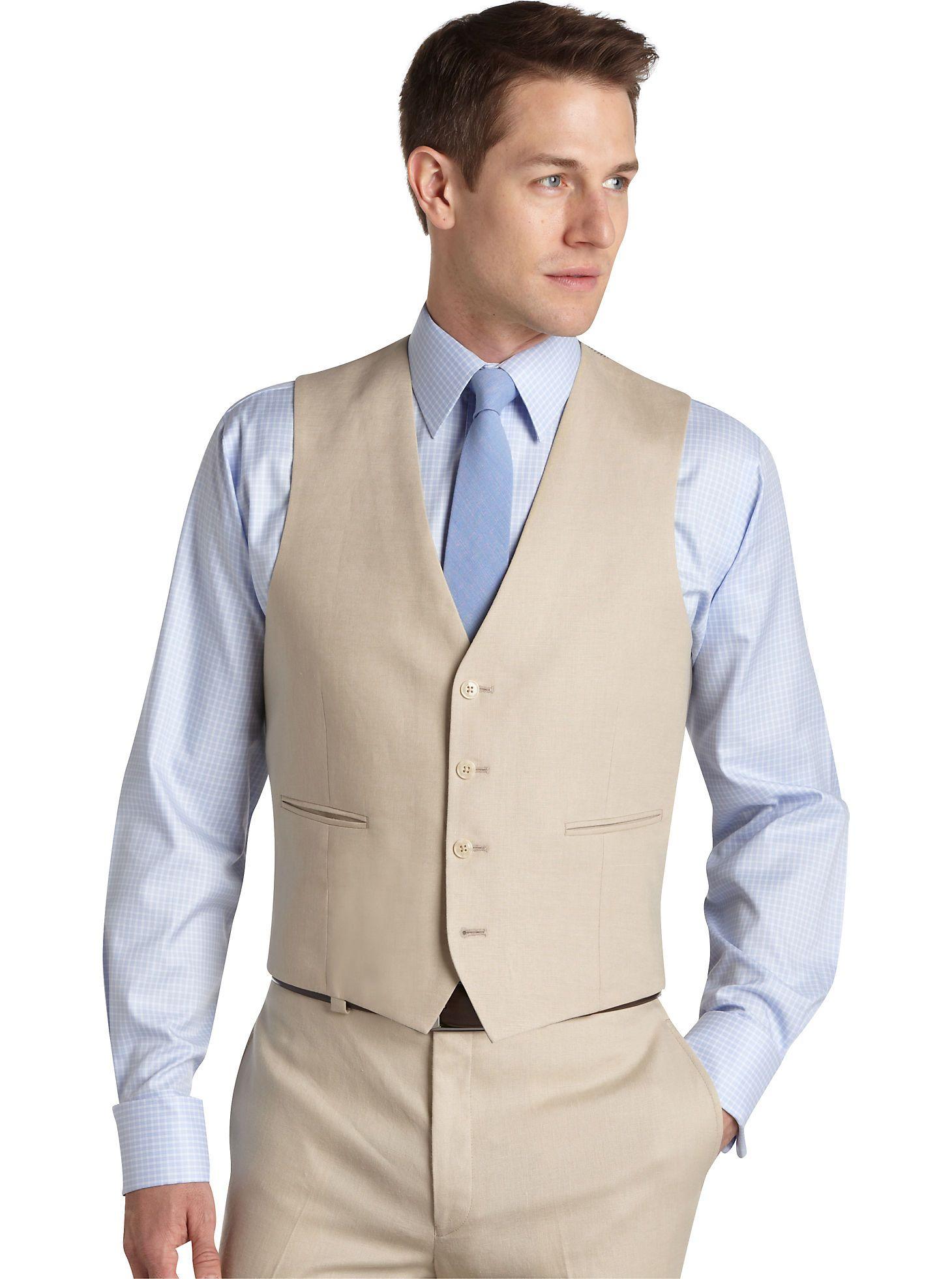 Tan Vest Blue Tie - Calvin Klein Tan Linen Suit Separates ...