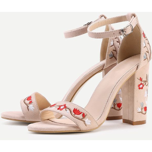 d54aa96582 SheIn(sheinside) Calico Embroidery Two Part Block Heeled Sandals ($36) ❤  liked on Polyvore featuring shoes, sandals, peep toe sandals, block heel  ankle ...