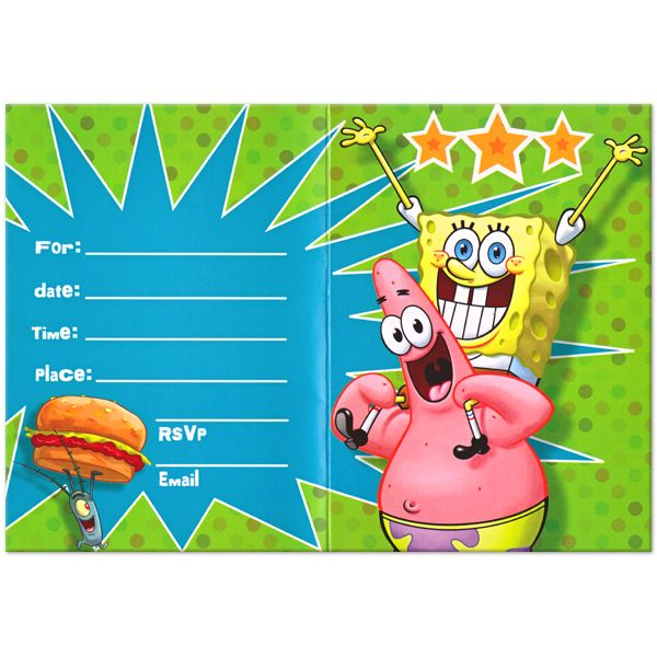 Download Now Free Printable Spongebob Birthday Invitations - free invitation download