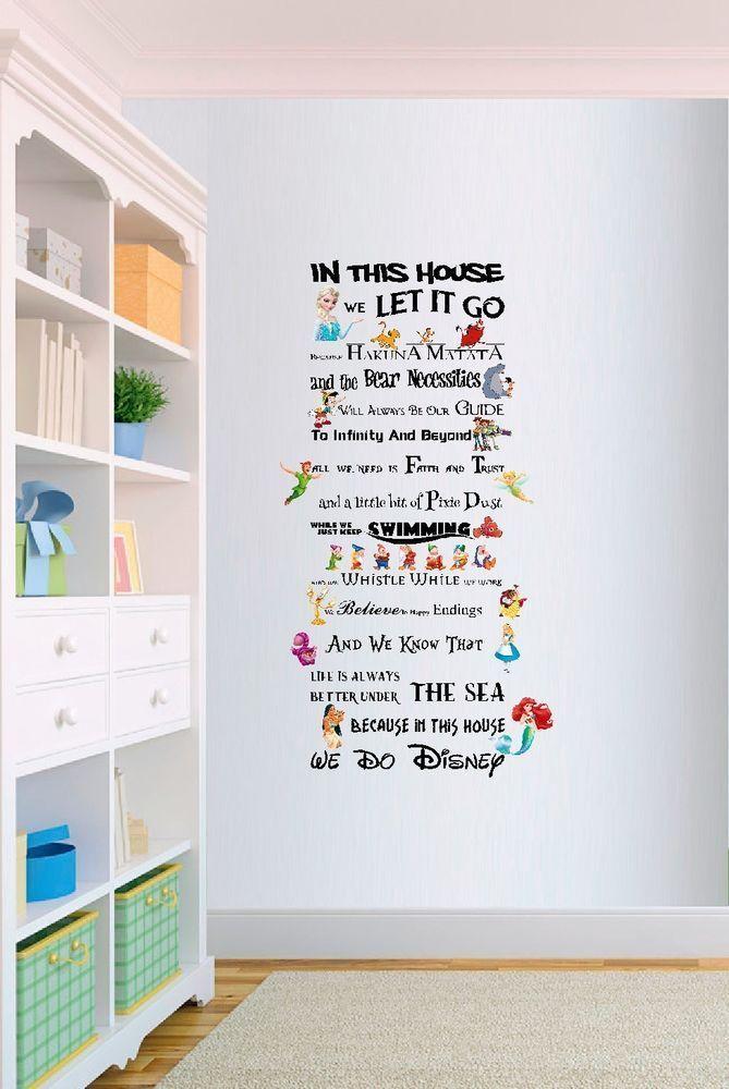 In diesem Haus machen wir Disney Style Zitat Regeln Vinyl Wall Art Kinderzimmer Aufkleber LSD4 #disneyhousedecor