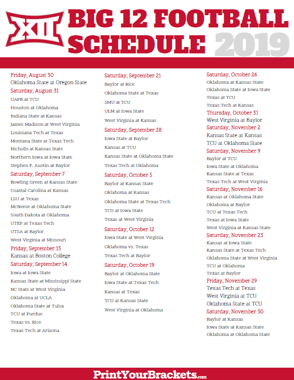picture about Printable College Football Schedules called Printable Huge 12 Soccer Meeting Plan 2019