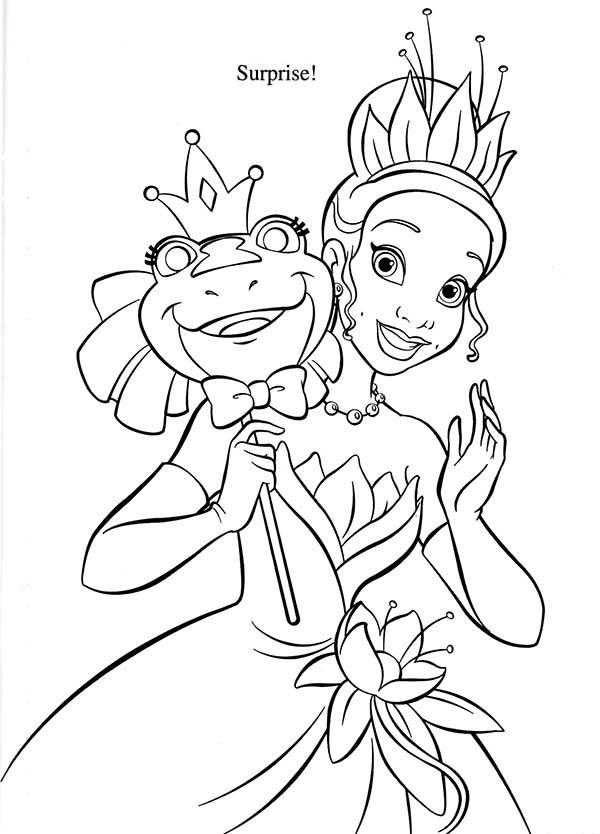 Princess Tiana Hold Frog Mask In Princess And The Frog Coloring Pages Bulk Color Frog Coloring Pages Princess Coloring Pages Coloring Pages
