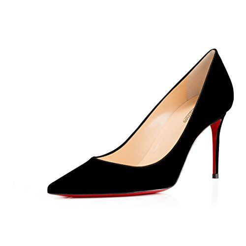 e92efbcd63 Modemoven Women's Black Suede With Red Sole Pointed Toe Pumps Slip-On  Office Business High
