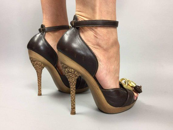 32ef7b59f77896 ROBERTO CAVALLI shoes Designer shoes Ankle strap sandals Size US 4 Eur 36 Leather  Heel Strappy Leath