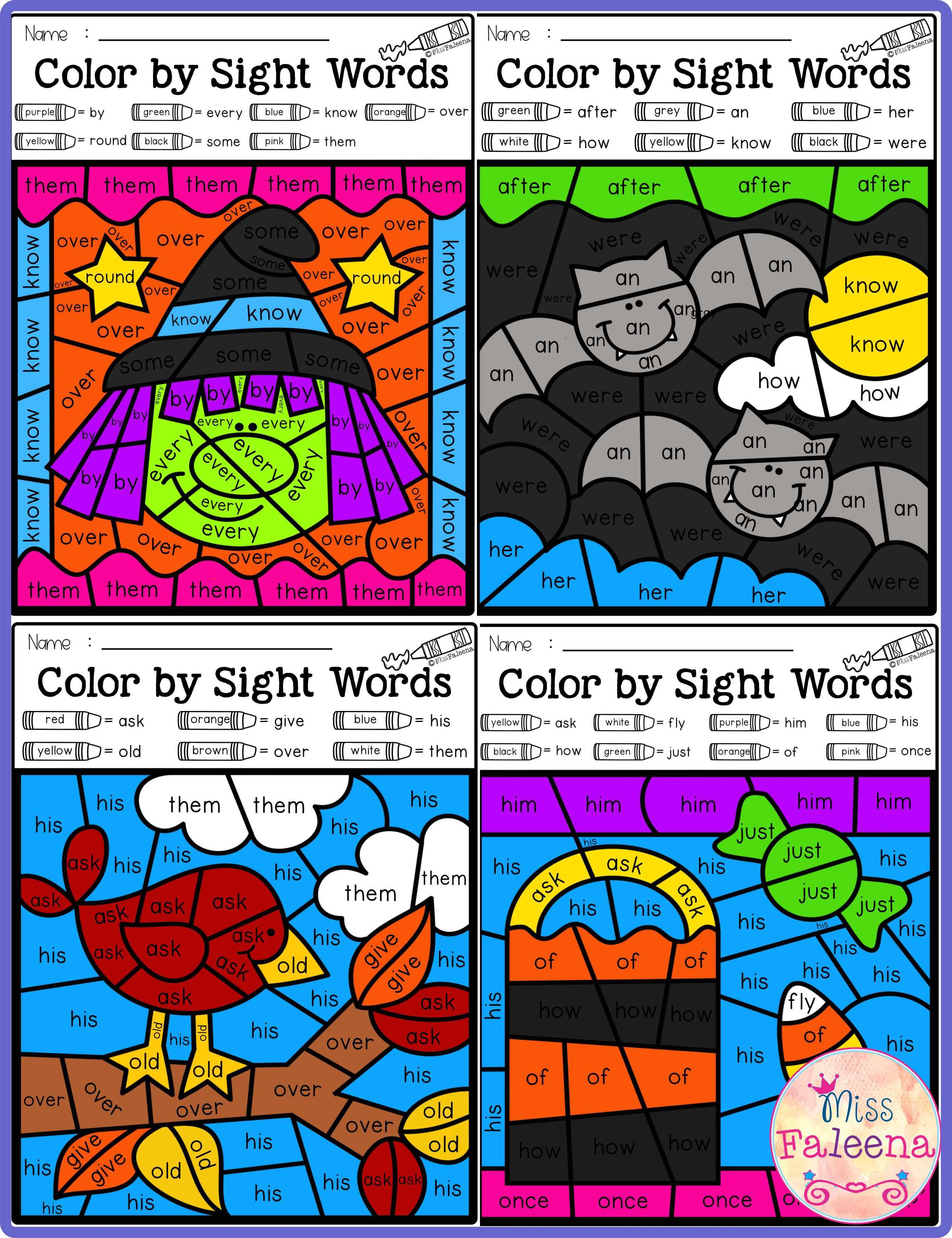 Fall Color By Code Sight Words First Grade