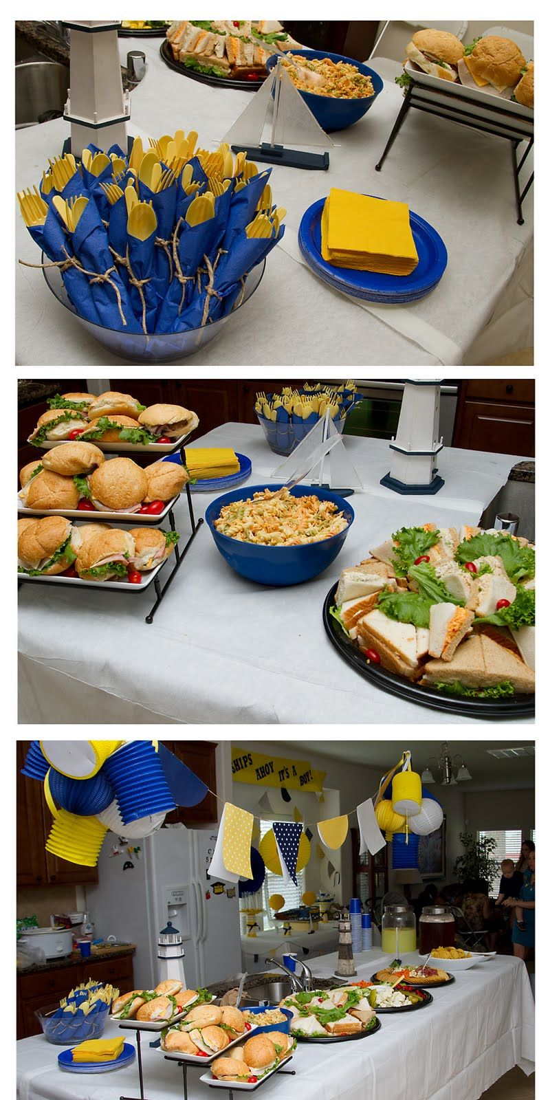 Life in print: A Navy, White & Yellow Nautical Baby Shower--Maybe do less yellow and add in some light blue    Lani: Similae color scheme