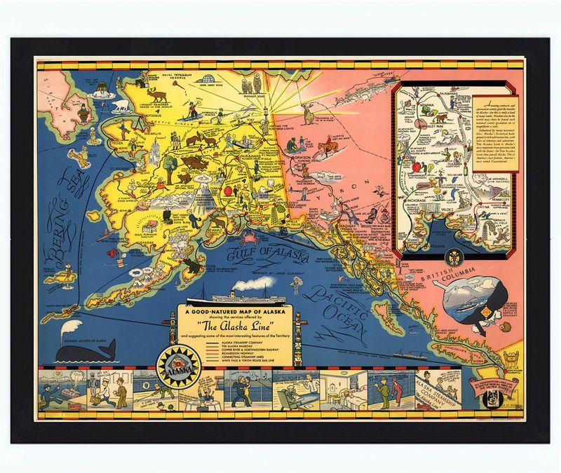 Old Map of Alaska Territory 1934 Alaska - new unique world map poster