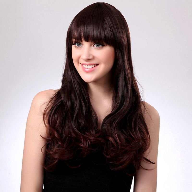 Synthetic Wigs with Bangs 20 Inch Long Chestnut
