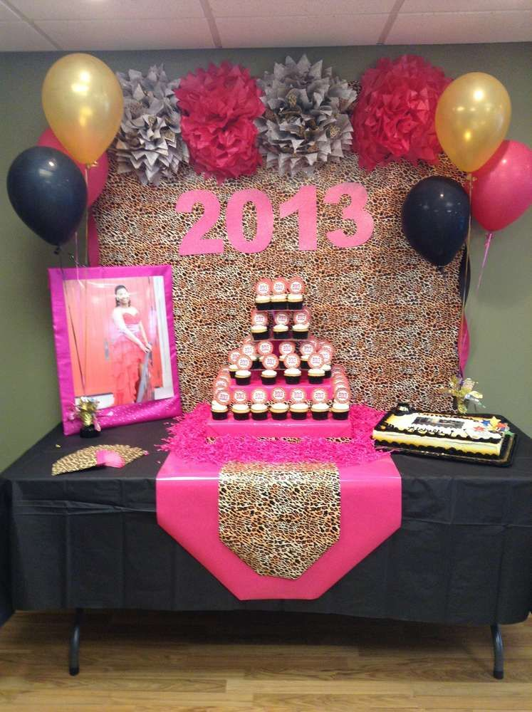 Hot Pink Gold Black And Leopard Print Graduation End Of School