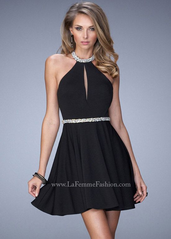 Black halter dress with gold neckline
