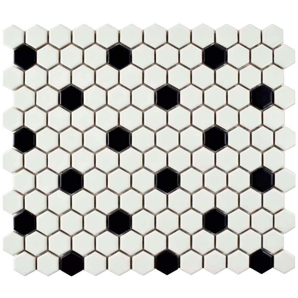 Metro Hex Matte White W Black Dot 10 1 4 Inch X 11 3 6mm Porcelain Mosaic Tile 8 54 Sf Ca