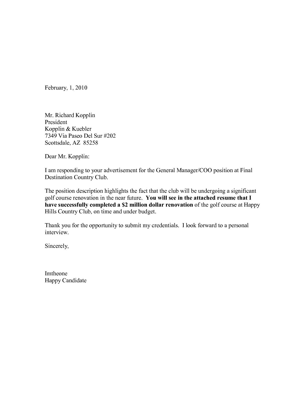 resume cover letter samples - Resume Cover Letters Samples