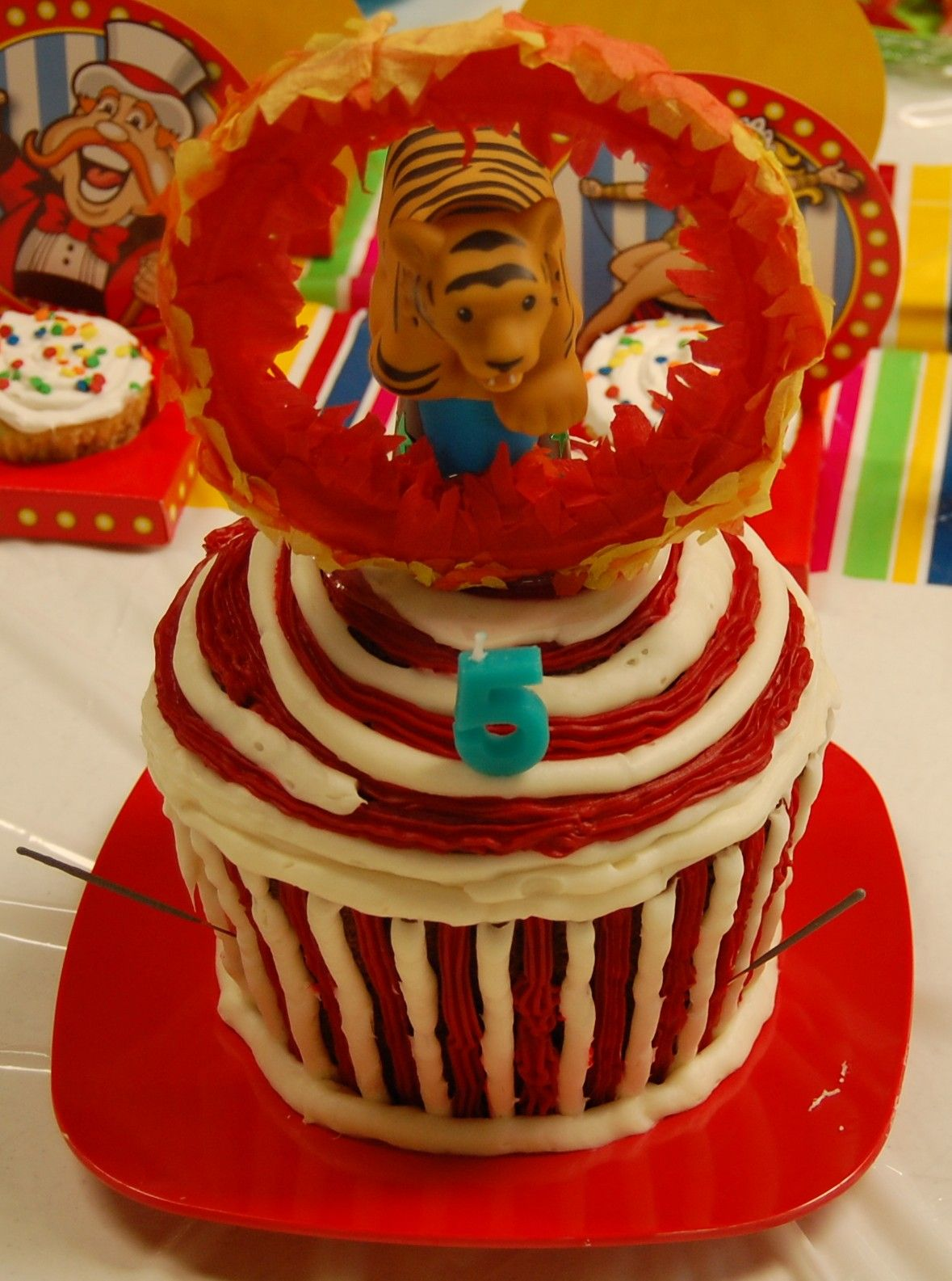 Circus Party Ring Of Fire Cake Iced A Giant Cupcake With Red And