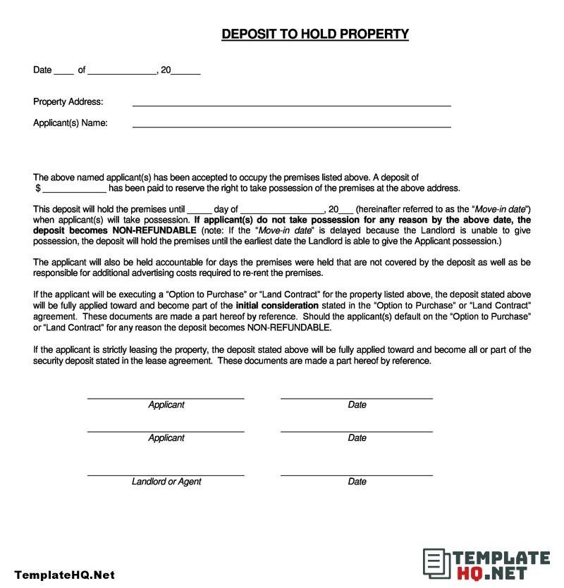 Example Rental Deposit Form Deposit Rental Form