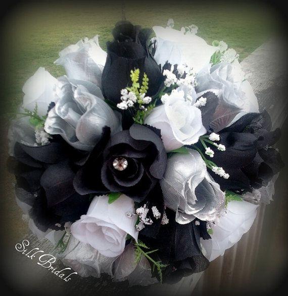 Black white silver roses bridal bouquet bridesmaid silk wedding black silver wedding bouquets black white silver roses bridal bouquet bridesmaid silk wedding mightylinksfo