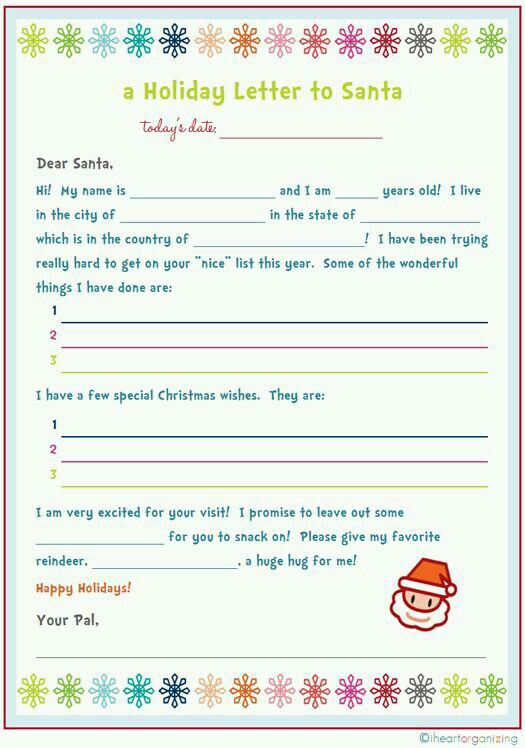 holiday letter letter for santa to colour in kate smith designs