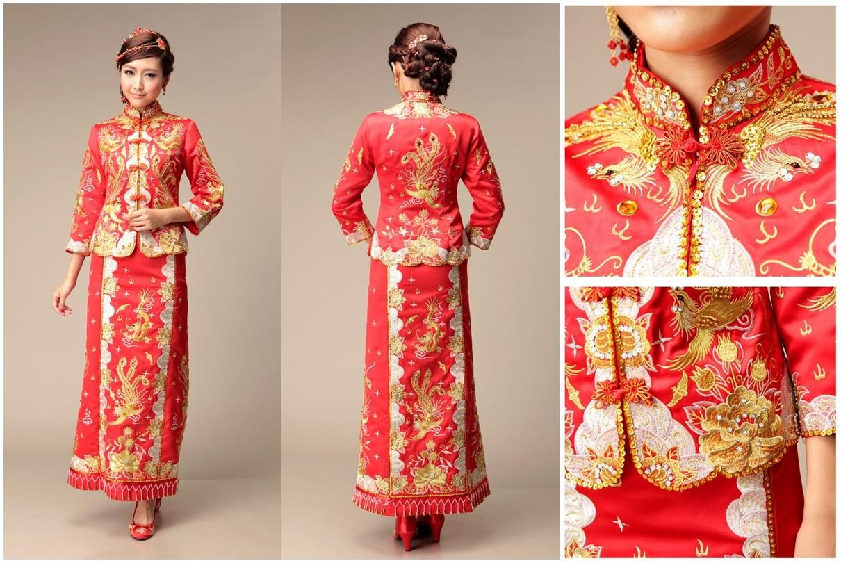 Popular Chinese Wedding Dress With Chinese Traditional Wedding Bridal Gown Qun Kua