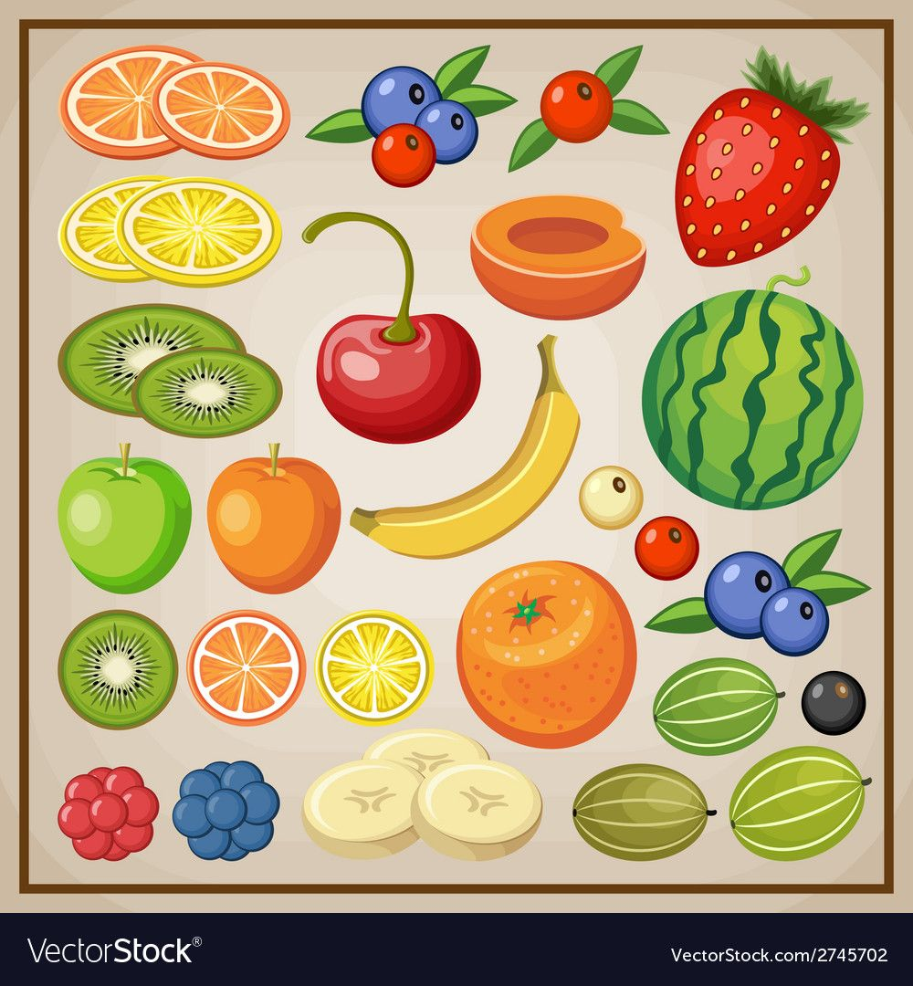 Fruits vector image on (с изображениями) Фрукты
