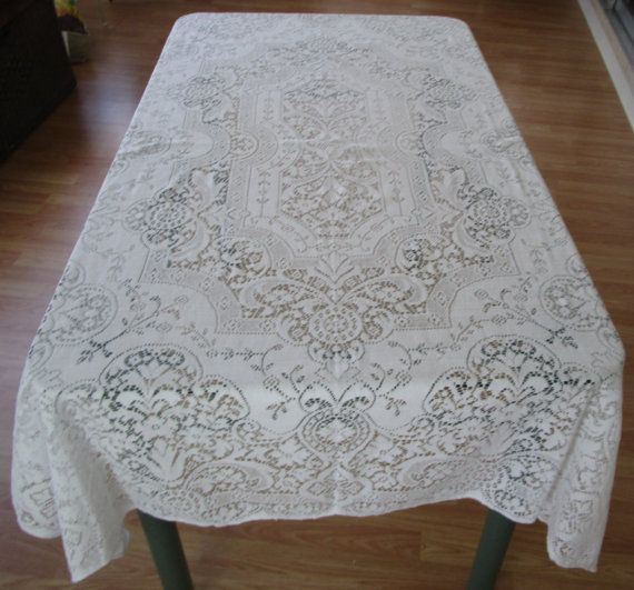 Superior Vintage White Lace Tablecloth Shabby Chic By VintageLinenGallery