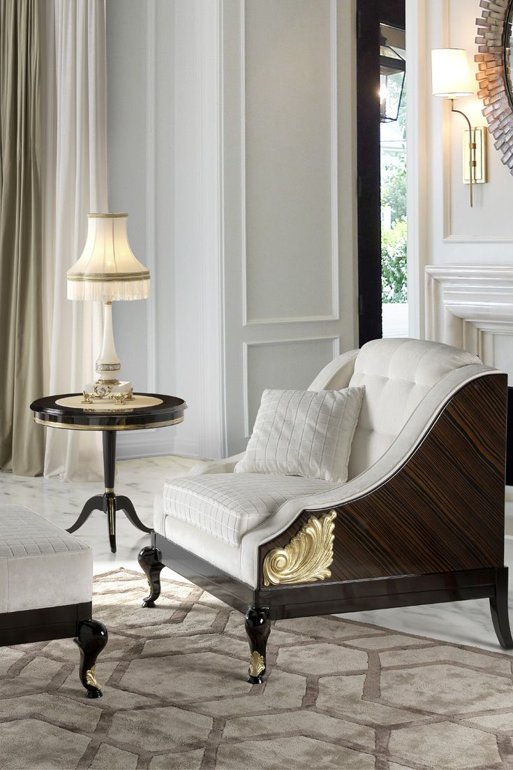 The High End Designer Art Deco Inspired Armchair And Footstool to ...