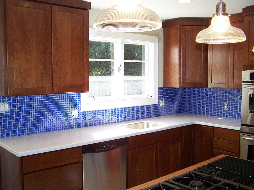 kitchen backsplash blue glass tile