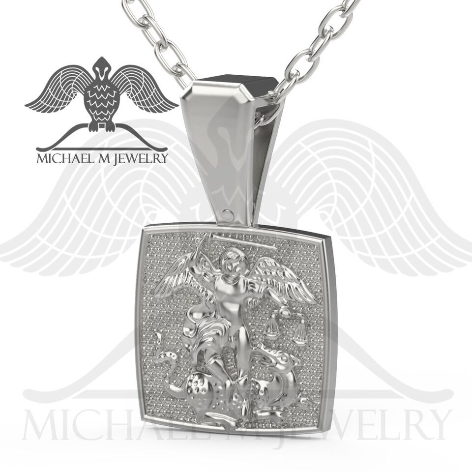 Made to order new handmade st michael pendant will be made made to order new handmade st michael pendant will be made by me out of 925 sterling silver or 14k white gold all my jewelry are hallmarked with aloadofball Gallery