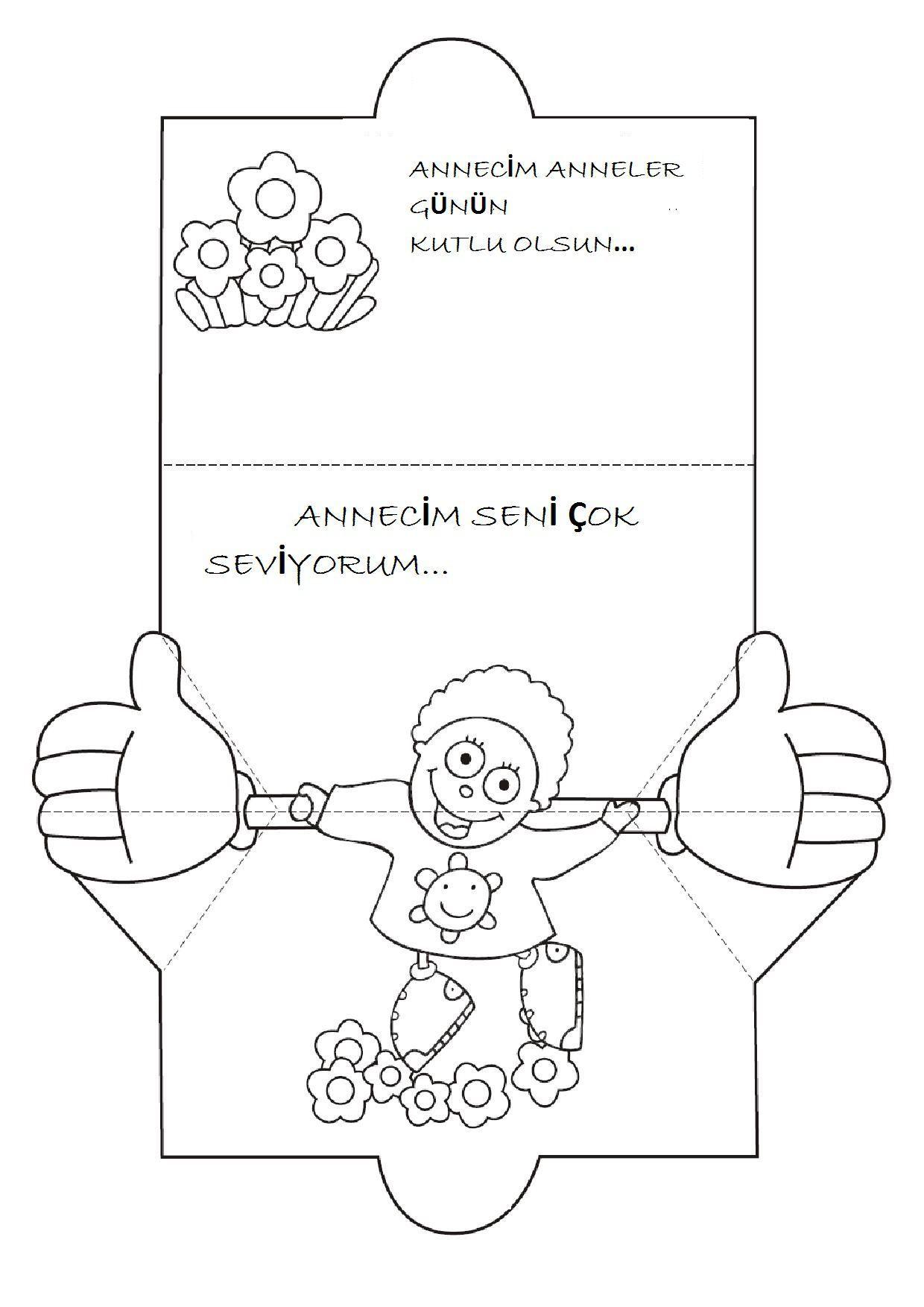 Kollarini Oynatan Kiz Ve Erkek Cocuk Kart Kalibi Okul Oncesi Etkinlik Faliyetleri Madamteacher Com Kartlar Anneler Gunu Anne