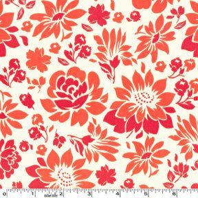 Picnic Flowers in Coral, Secret Garden, Sandi Henderson, Michael Miller Fabrics