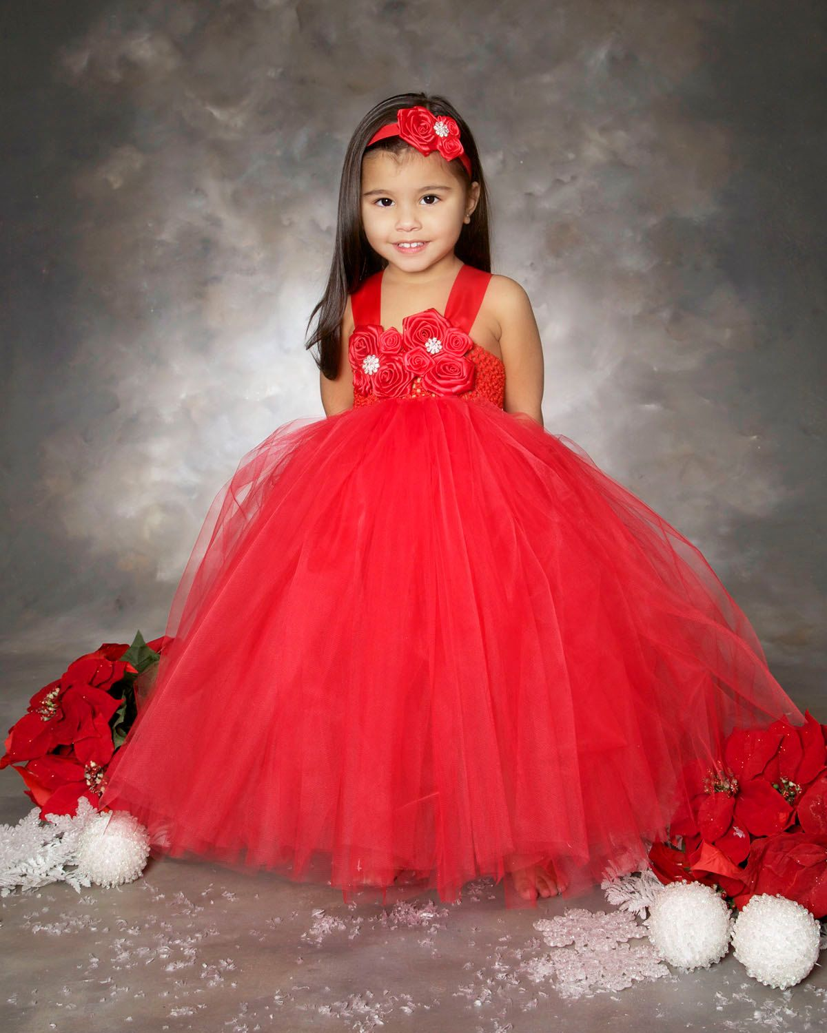 Red Flower Girl Dress- Christmas Tutu Dress- Holiday Outfit ...