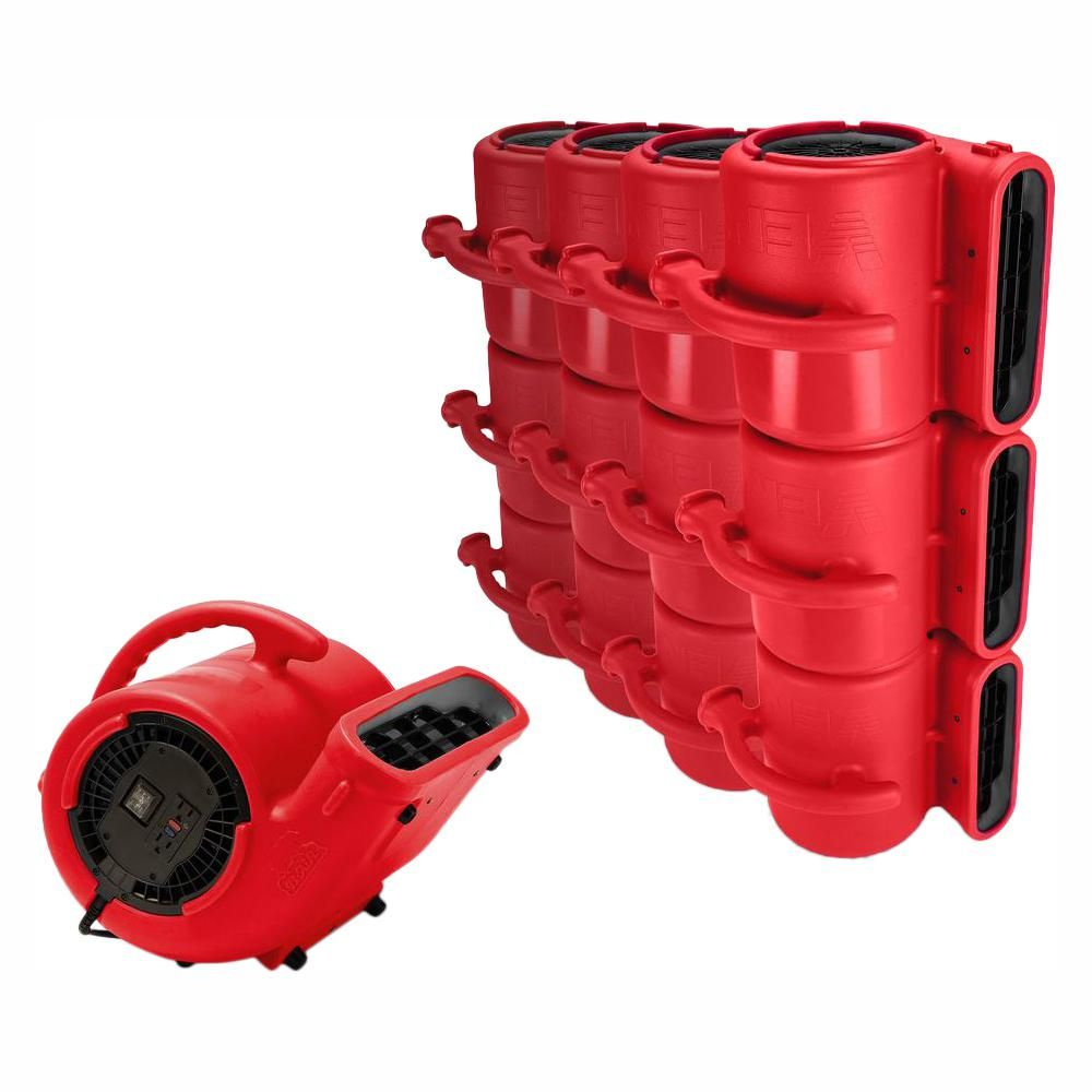 B Air 1 3 Hp Air Mover For Water Damage Restoration Carpet Dryer Janitorial Floor Blower Fan In Red 45 Pack Janitorial Restoration Water Damage