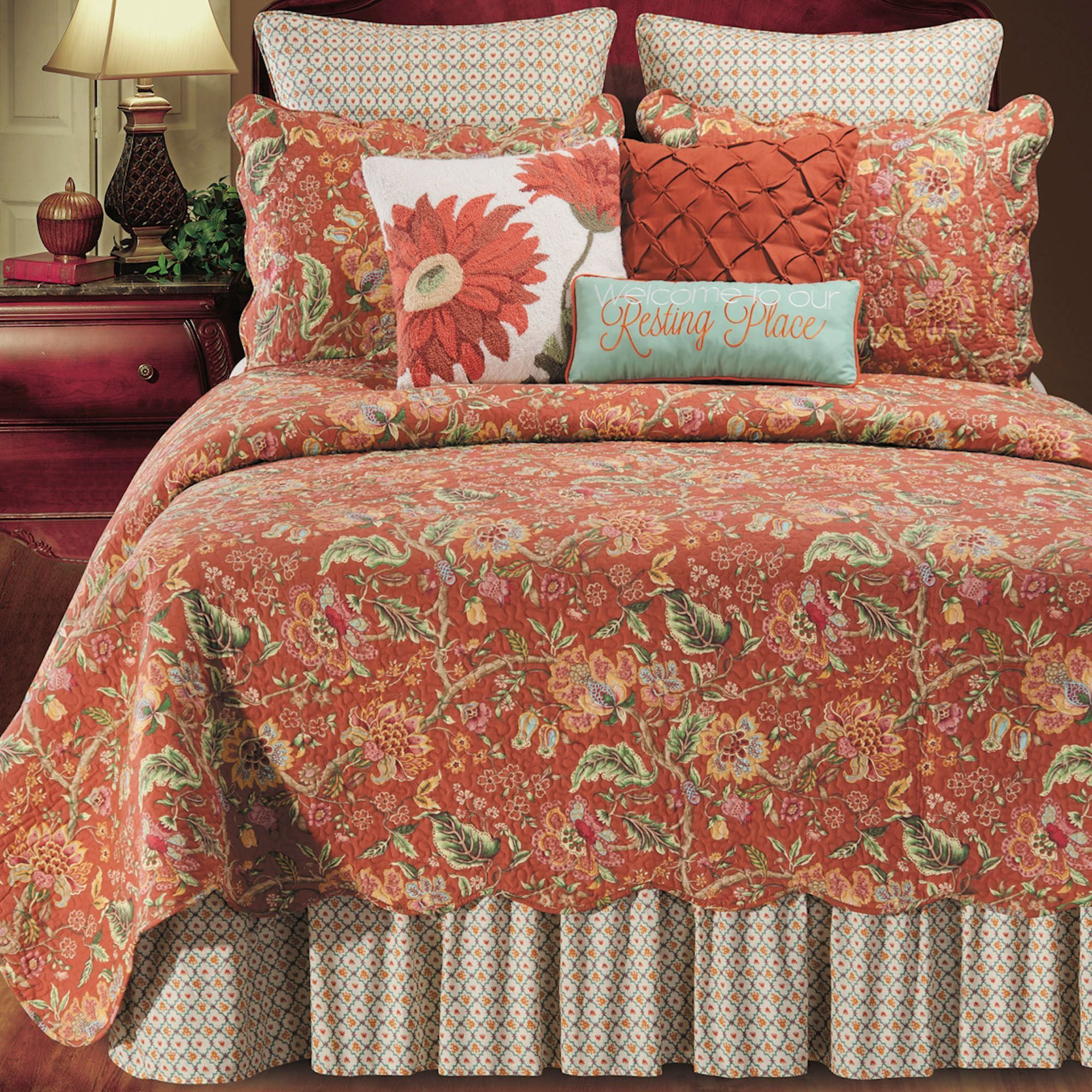 Adele Jacobean Floral Rust Quilt Bedding In 2020 Bed Spreads