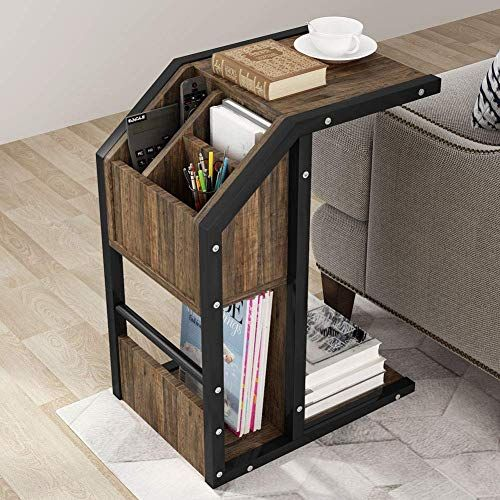 Photo of New Tribesigns Sofa Side Table, Modern C Table Snack End Table  Storage  Coffee Laptop Tablet, Couch Bed  Side Table  Metal Frame  Living Room, Bedroom online – Perfectfurniture