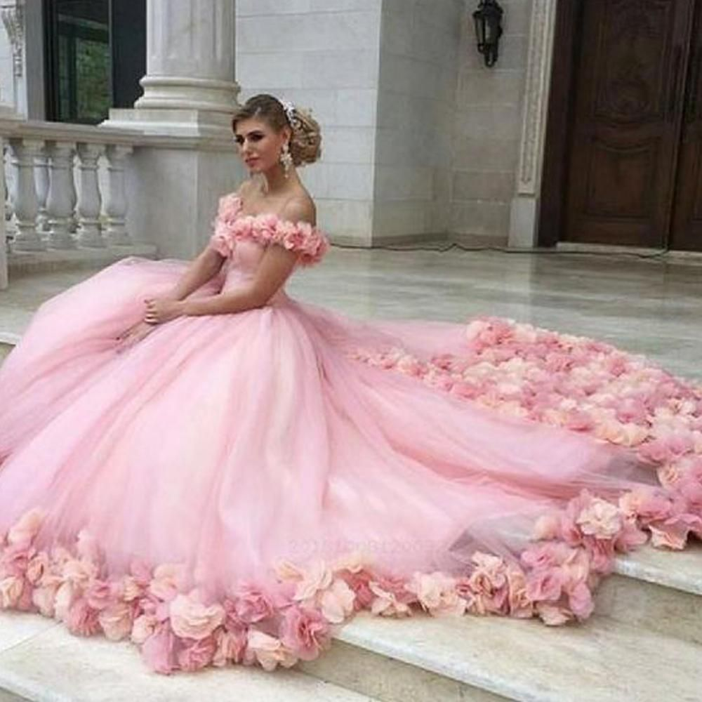 Ball Gown Prom Dresses 2020 Off The Shoulder Hand Made Flowers 3d Flowers Ball Gown Tulle Floor Length Evening Dresses Gowns Arabic Party Dresses Ball Gown Wedding Dress Pink Wedding Dresses