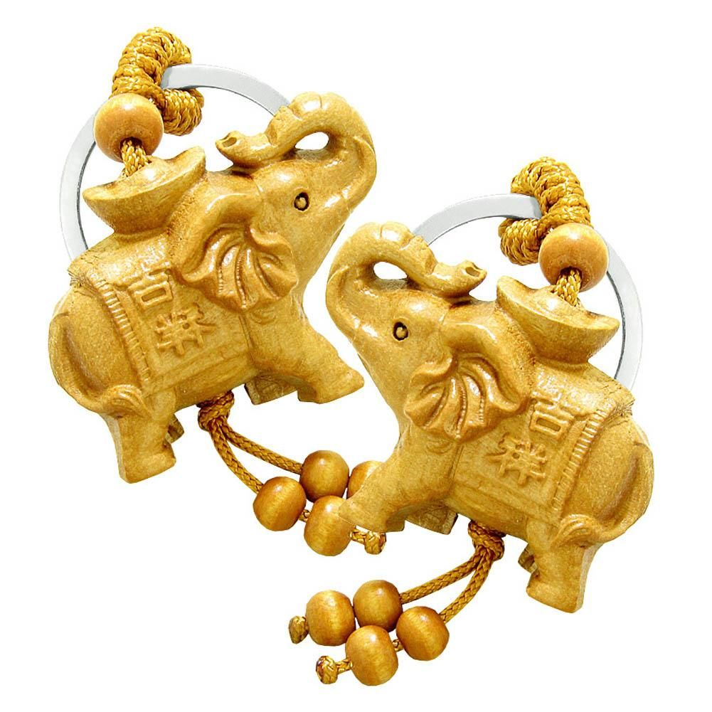 Pacific Giftware Wood Like Elephant Set of 2 Lucky Home Decor