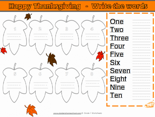 Free Grade 1 Thanksgiving-Themed Math Worksheets | Thanksgiving ...