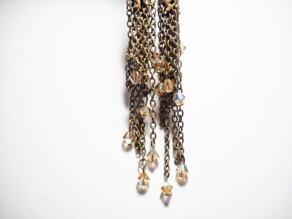 Long earrings Chains  Swarovski от Calliphorabeads на Etsy
