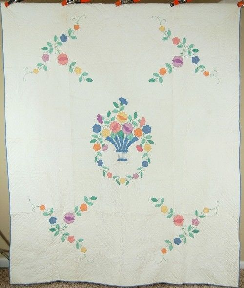 Beautiful Vintage 30 S Floral Bouquet Applique Antique