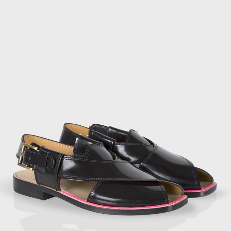 High Men's Robert Sandals Paul Smith Shine Leather ShoesBlack 6byv7Yfg