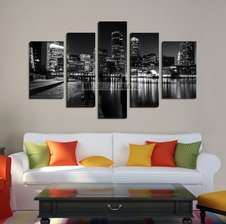 Large Wall Art BOSTON Canvas Print   Black And White Asymmetric 5 Panel  Boston City By