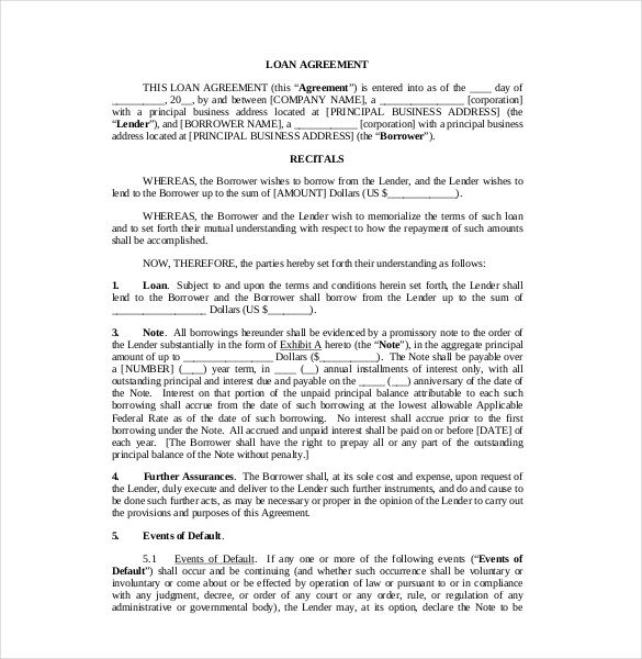 Sample Loan Contract Template PDF , 23+ Simple Contract Template - company loan agreement template