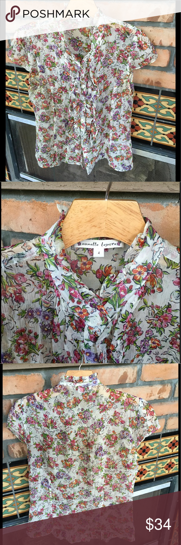 🌸BEAUTIFUL DELICATE NANNETTE LAPORE FLORAL🌸 SWEET SUMMER TIME DELICATE BLOUSE IN GOOD PRELOVED CONDITION. Nannette Lapore Tops Blouses