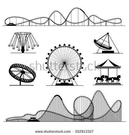 Amusement ride or luna park roller coasters entertainment