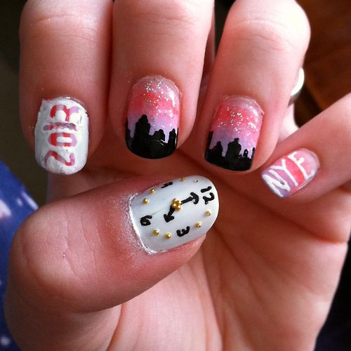 New Year's Eve nail art  by LookAtHerNails