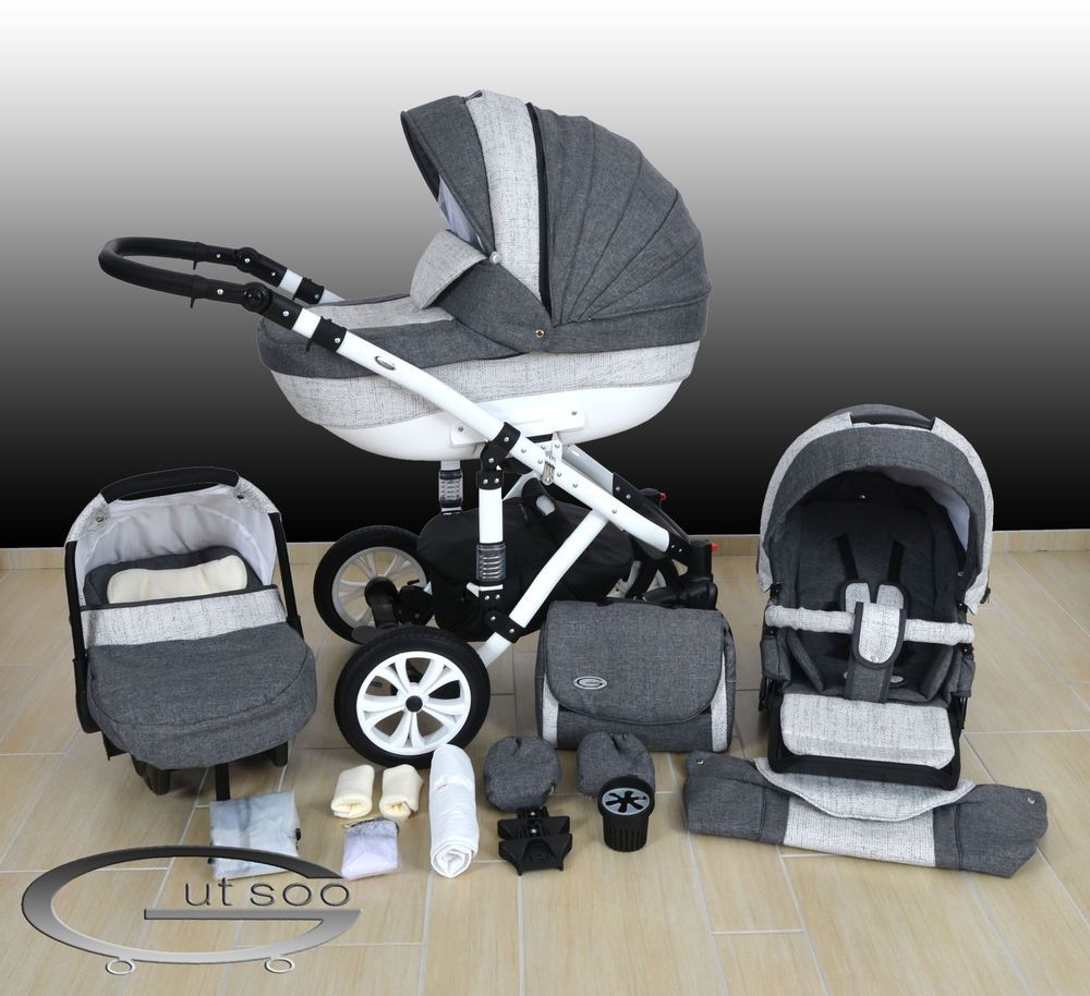 luxus kombi kinderwagen alu cleo 3in1 babyschale autositz. Black Bedroom Furniture Sets. Home Design Ideas