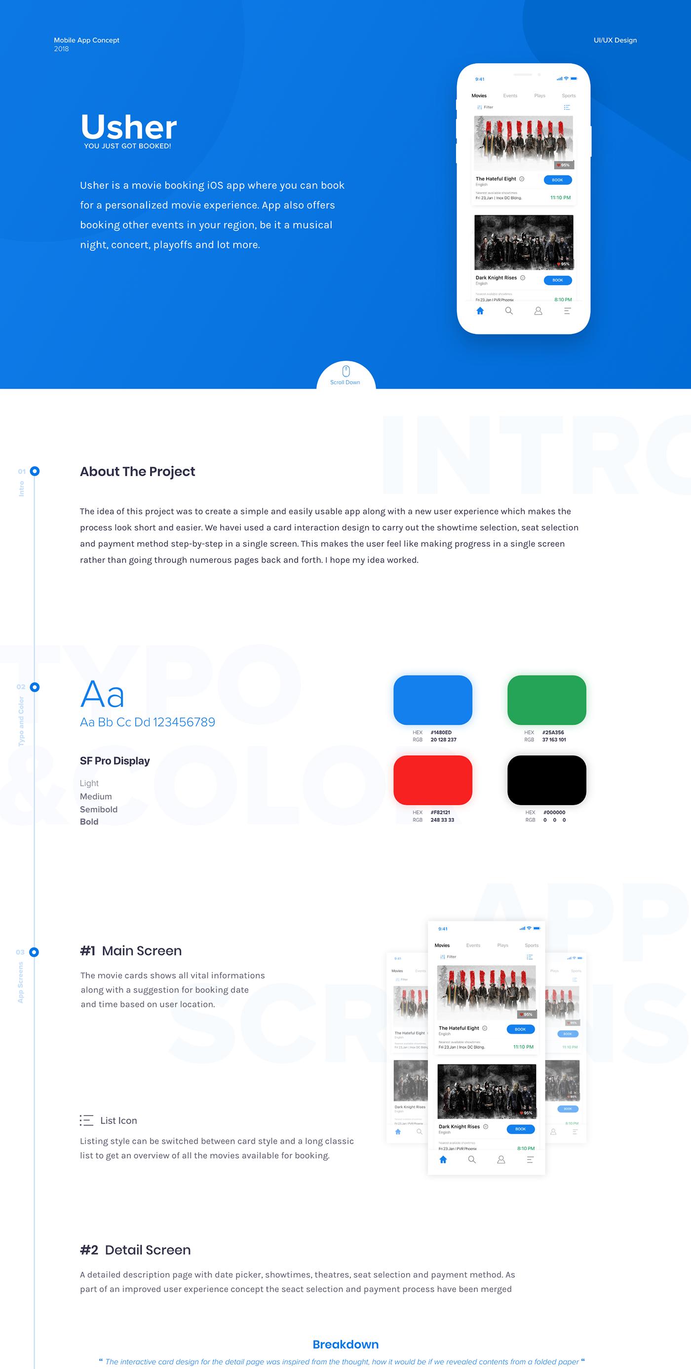 """다음 Behance 프로젝트 확인 """"Usher Movie Booking iOS App"""" https"""